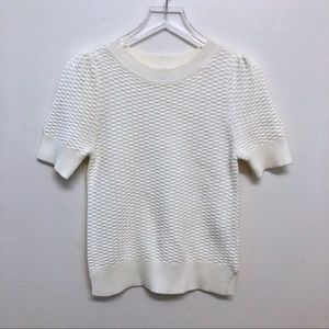 GAP Sweaters - GAP | Cream Short Sleeve Waffle Knit Sweater